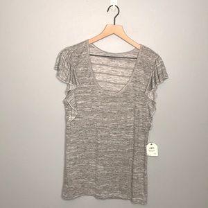 Caslon heathered gray short sleeve ruffle shirt XL